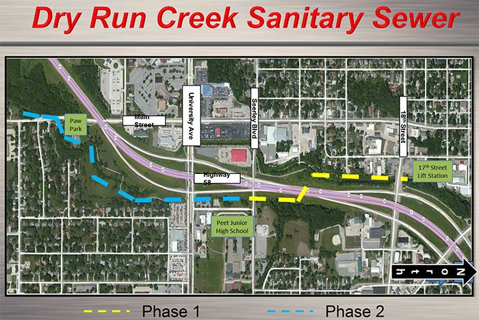 Dry Run Creek Sanitary Sewer Improvements Map of Phase 1 and 2