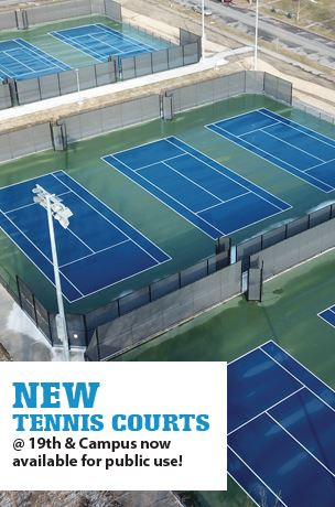 new tennis courts available for public use at 19th and Campus Streets