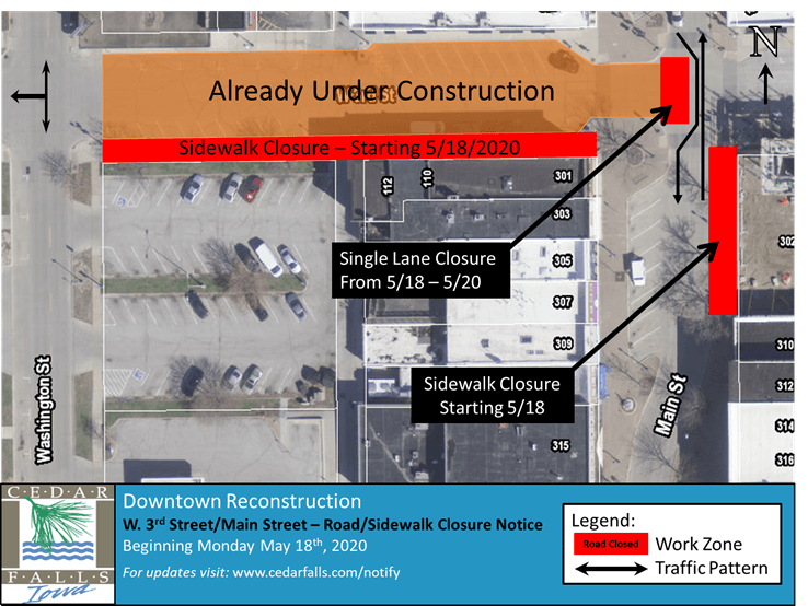 W 3rd Street-Main Street-Road and Sidewalk Closure Notice